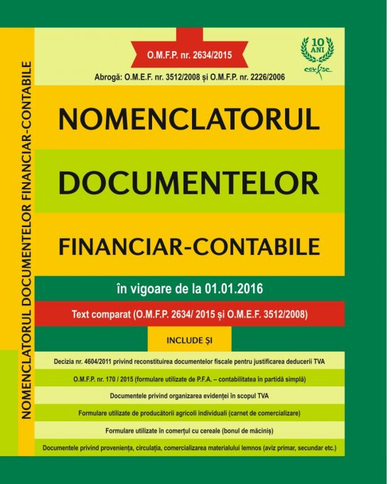 Nomenclatorul documentelor financiar – contabile